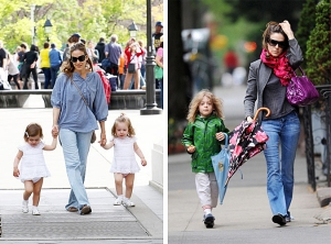 Sarah Jessica Parker takes adorable twins Marion and Tabitha to Washington Square Park on Mother's Day