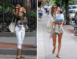 Alessandra Ambrosio gives her baby a kiss in NYC