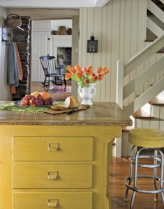 Yellow Kitchen Island - Country Living